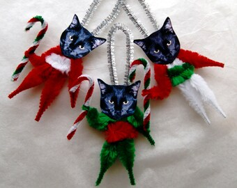 Christmas Cats Chenille Ornaments, Black Cats Vintage Style, Primitive   (113)