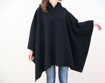 100% MERINO WOOL CLOAK / Wool Poncho / Pure Wool Sweater / Black Cape / Hooded Poncho / Mans Poncho / Womens Cape Coat / Winter Shawl / Coat