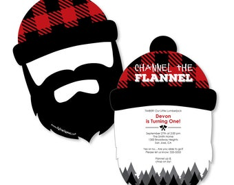 Lumberjack - Shaped Invitations - Personalized Buffalo Plaid Birthday Party Invitations - Channel The Flannel - Shaped Party Invites -12 Ct