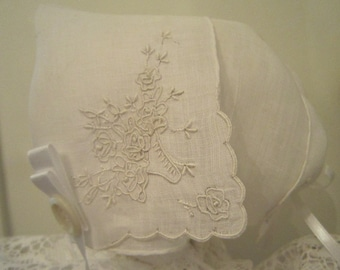 White Embroidered Hanky Bonnet