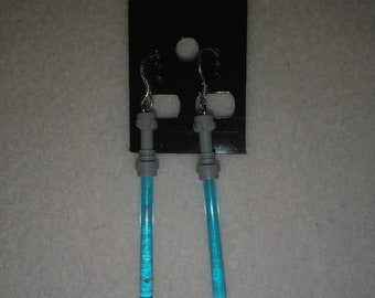 Blue Lego Star Wars LightSaber Sterling Silver Shepherds Hooks with Loop earrings - 16mm