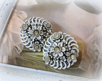 vintage celluloid and rhinestone wedding cake earrings . wedding cake celluloid white with black wash and rhinestones clip on earrings