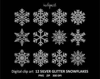Snowflake clipart. Silver glitter snowflake clipart. 12 silver Snowflakes PNG. Christmas New Year clipart. Business use Digital download PNG