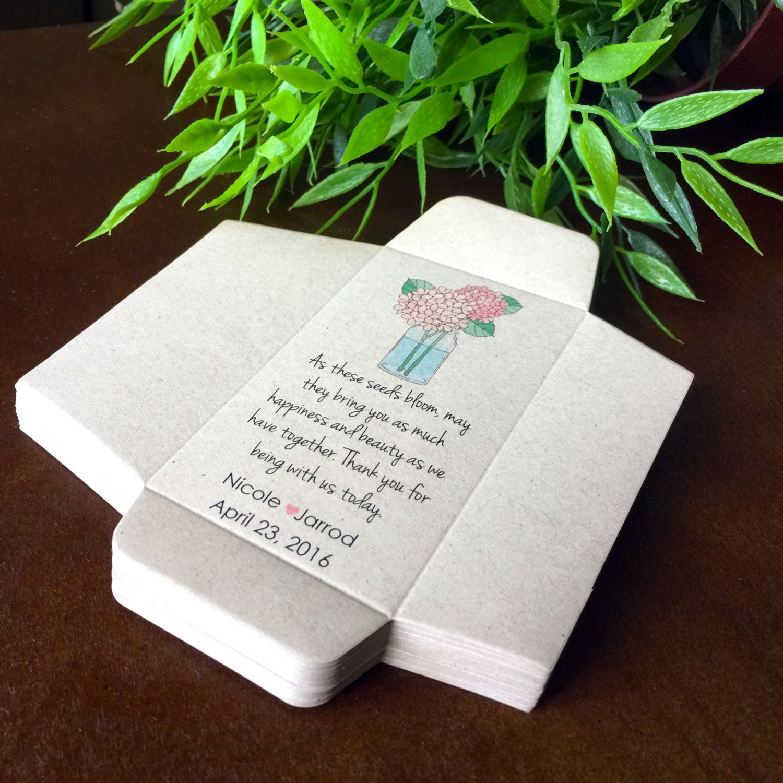 DIY Custom Seed Packet Wedding Favors Hydrangea