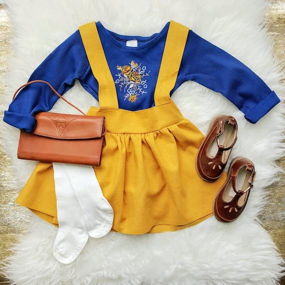 Mustard Fiona Linen High Waist Suspender Skirt