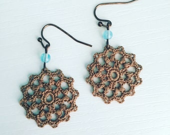 Belmont Crochet Earrings in Mocha, Brown Lace Doily Earrings, Lightweight Dangle Earrings, Boho Fashion, Gift for Mom, Gift Under 30