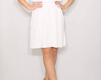Short white dress Chiffon dress Wedding dress Keyhole dress