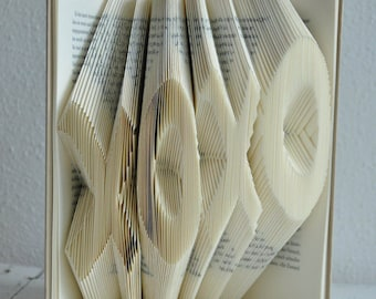 XOXO, hugs and kisses, paper wedding, 1st anniversary, marriage, gift, book folding art folded, folded book