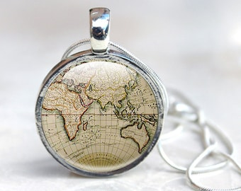 Old map necklace world map pendant world map necklace world map necklace globe necklace world map pendant old map pendant jewellery gumiabroncs Gallery