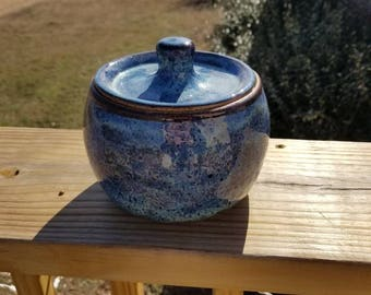 Handmade Blue Pottery Jar with Lid Wheel Thrown Stoneware Cookie Jar Dog Treat Jar