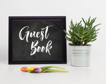 Chalkboard Guest Book Sign, Chalkboard Wedding Guest Book Sign, Chalkboard Gold Guest Book Sign, Wedding Sign In Book, Guest Book Alternate