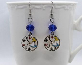 Earrings, Alice in Wonderland inspired, Charm Earrings, Blue Glass Bead, Alice in Wonderland Earrings