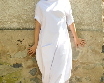 White loose cotton tunic/White summer asymmetrical tunic/Maxi dress/Plus size caftan/Oversize sleeveless casual dress/Party long tunic/T1478