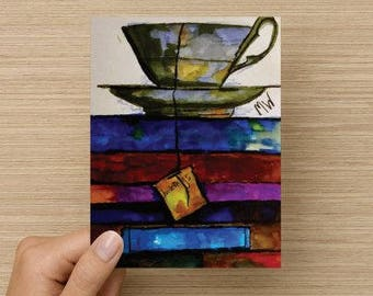Tea and a Book Note Cards 5.5x4