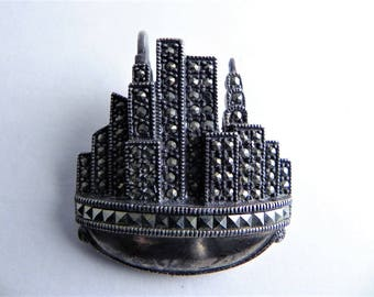 DBJ Brooch, New York City Skyline Brooch,Marcasite Brooch, Pendant, 925, DBJ Signed, NYC,