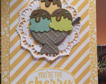 Handmade birthday card with an ice cream sundae