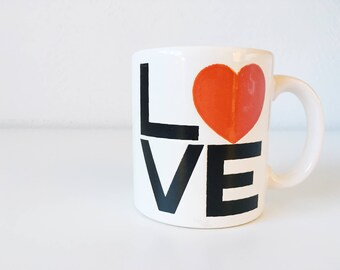 Vintage LOVE Red Heart Mug + Made in W Germany + Waechtersbach + Valentine + Black and White Graphic Lettering