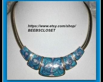 Vintage Blue Necklace , Swirls enamel necklace , Bib Necklace , Multi colored necklace, swirl enamel necklace , blue swirl jewelry