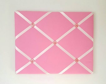 Bright Pink French Memo Board - Pink Pin Board - Pink Memory Board - Pink Fabric Ribbon Board - Pink Bulletin Board - Pink Nursery Decor