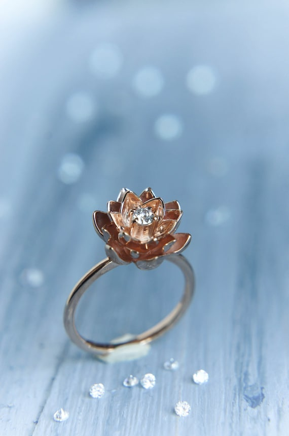 Gold Flower Engagement Ring Diamond Ring Rose Gold Ring