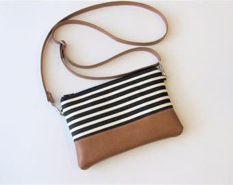Crossbody Bag, Crossbody Clutch, Vegan Crossbody Purse, Clip on Crossbody Strap,Crossbody Wallet, Black Stripe Crossbody Bag