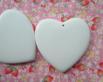 Large Plain Heart pendant 2pcs White  49mm X 48mm