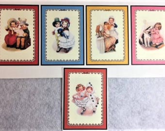 Water slide Decals - 5 reproduction vintage pictures of children
