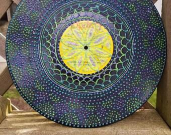 Mermaid Oceanic Theme Mandala Upcycled Record Painting