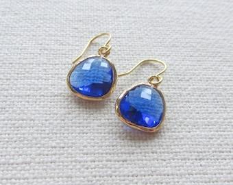 Cobalt Blue Earrings, Modern Gold Dainty Dangle Earrings, Bridal, Minimalist