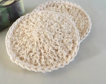 Loofah Bath Scrubbies Facial Cloth Double Sided Round Kitchen Scrubby All Cotton Nylon Sets Loofah-Off White Color Made to Order