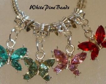 Rhinestone Butterfly Charms Beads Fits European Bracelets