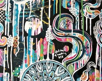Just let it happen - large colorful original acrylic painting, hippie art
