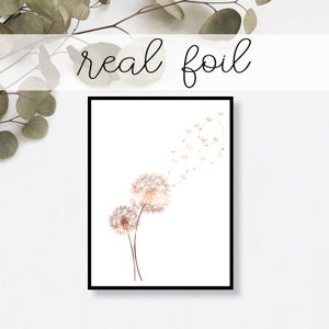 Dandelion Print // Real Gold Foil // Minimal // Gold Foil Art Print // Home Decor // Modern Office Print // Flower Print // Fashion Print
