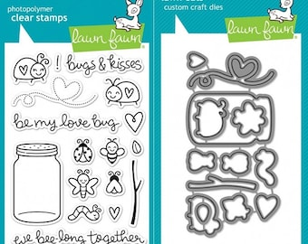 Lawn Fawn™ ~ Stamp Set and Dies Bundle ~ Bugs and Kisses ~ *Free Shipping!*