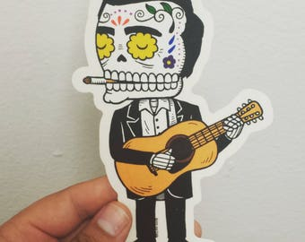 LARGE Johnny Cash Calavera Die Cut Clear Vinyl Sticker