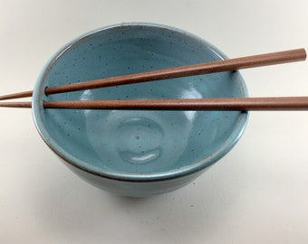 Turquoise Noodle/Rice Bowls with Chopsticks Handmade from Stoneware.  These are ready to ship.