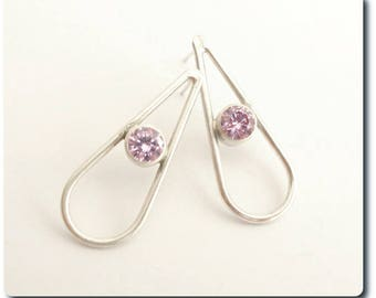 Sterling Silver Teardrop Earrings with Amethyst CZ