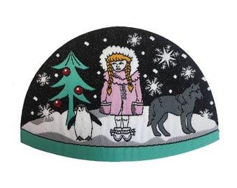 Snowgirl Snow globe iron on patch