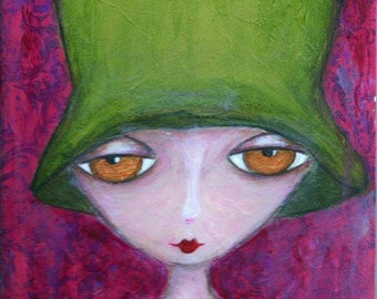 ART PRINT - ARABELLA  Mixed Media Whimsical Art Girl with green felt hat Print A4 size Free local Postage