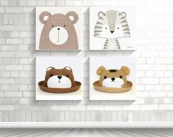Straw Bowler Hat, Teddy Bear, Tiger, Brown, Kid Unisex Boy Girl