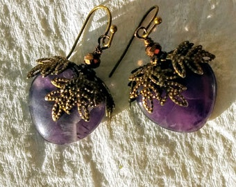 Natural Gemstone Amethyst Earrings