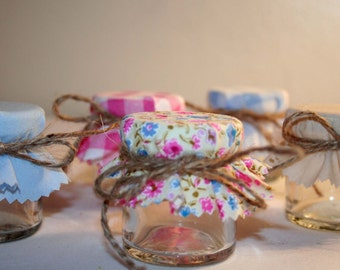 Jam Jar Fabric Covers, Cotton jar covers, DIY Wedding favours, Jam pot covers, mini jar covers