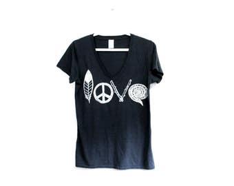 LOVE Screen Print Tshirt. Bamboo Organic Cotton. Womens Love Shirt. Peace Feather Top. Hippie Love Design. Festival Fashion. Love Sign Tee