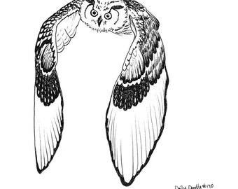 No.170 Owl Flying / Original Artwork / Daily Doodle / Art Print / Bird of Prey / Black and White