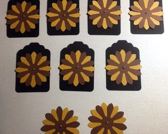 9 Sunflower Yellow and Brown Black Flower Tags Cards Scrapbooks