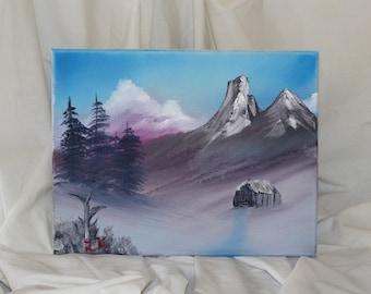 Violet winter scene oil painting