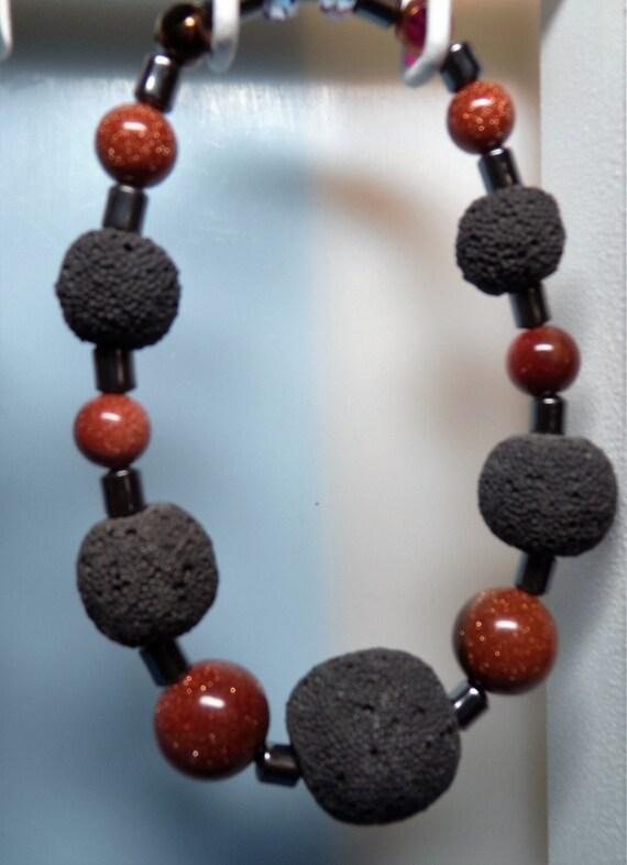 Lava Rock - Hematite Men's Bracelet