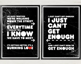 Depeche Mode Poster Music art print I just can't get enough lyrics music print typography grunge poster art typography typography print Art