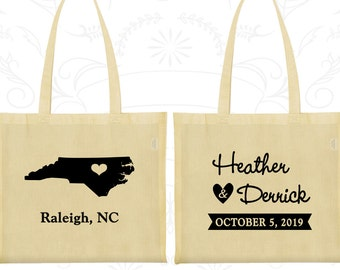 North Carolina Wedding, North Carolina Tote Bags, Custom Canvas Tote, Destination Wedding Bags, State Tote Bags, Wedding Party Totes (132)