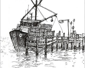 Scenic Fishing lobster boat Trawler at Dock Rhode Island Art Nature landscape pen and ink art print 8.5x11 Home and Living Art Wall Hangings